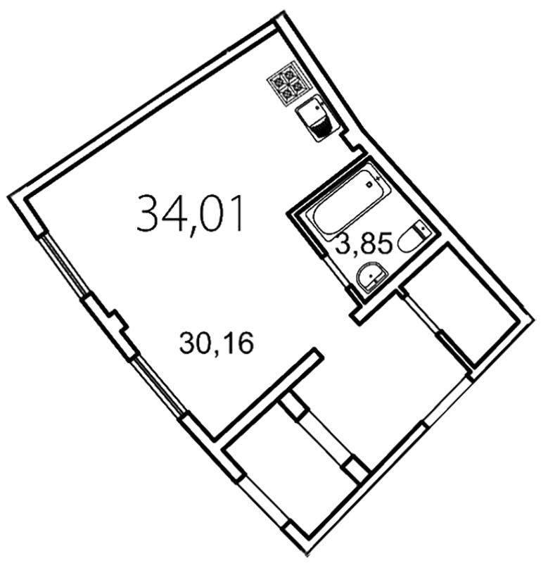 Планировка Студия площадью 34 кв.м в ЖК «Лахта Парк»