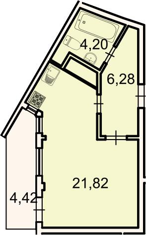 Планировка Студия площадью 36.63 кв.м в ЖК «Лахта Парк»