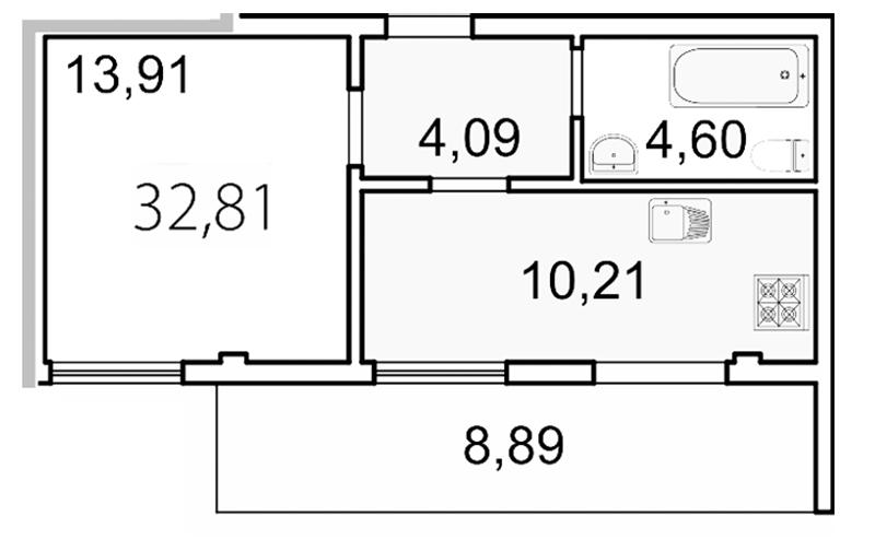 Планировка Однокомнатная квартира площадью 35.5 кв.м в ЖК «Лахта Парк»
