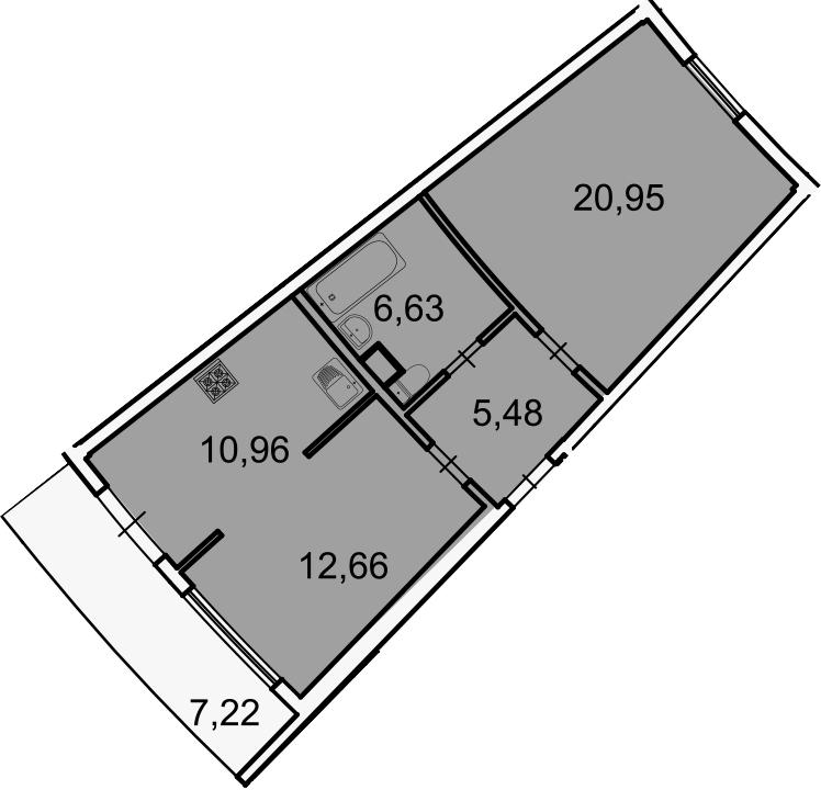 Планировка Двухкомнатная квартира площадью 63.85 кв.м в ЖК «Лахта Парк»