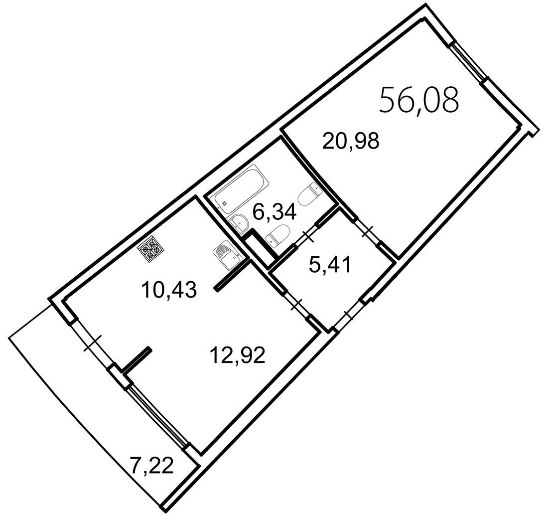 Планировка Двухкомнатная квартира площадью 58.2 кв.м в ЖК «Лахта Парк»