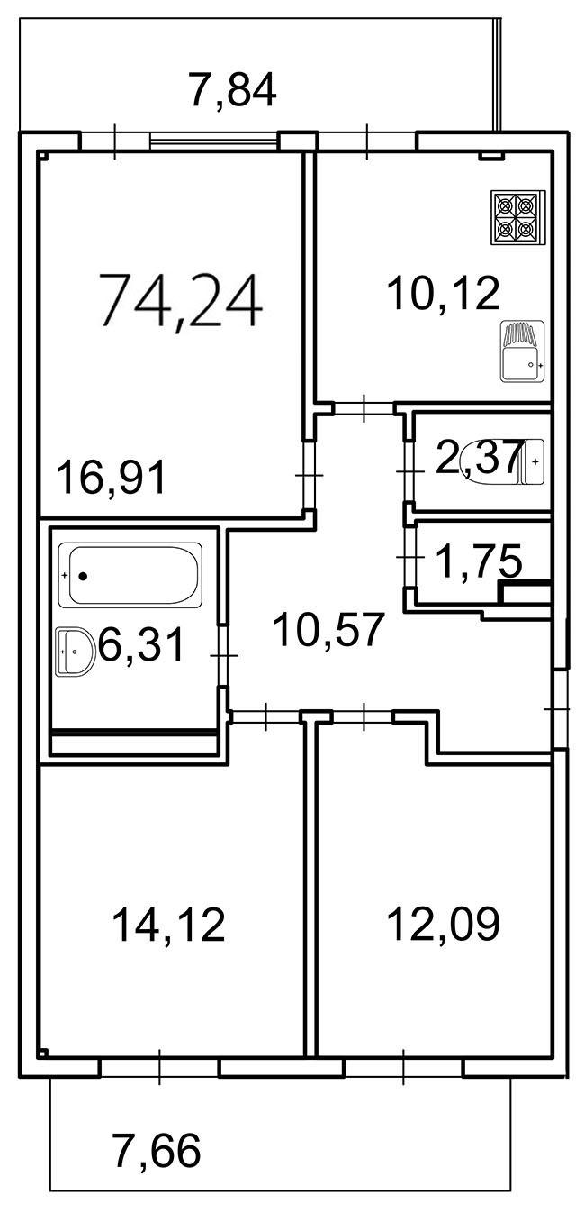 Планировка Трёхкомнатная квартира площадью 78.9 кв.м в ЖК «Лахта Парк»