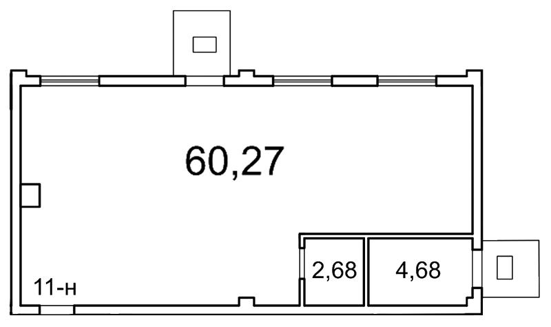 Планировка Коммерческое помещение площадью 63 кв.м в ЖК «Лахта Парк»