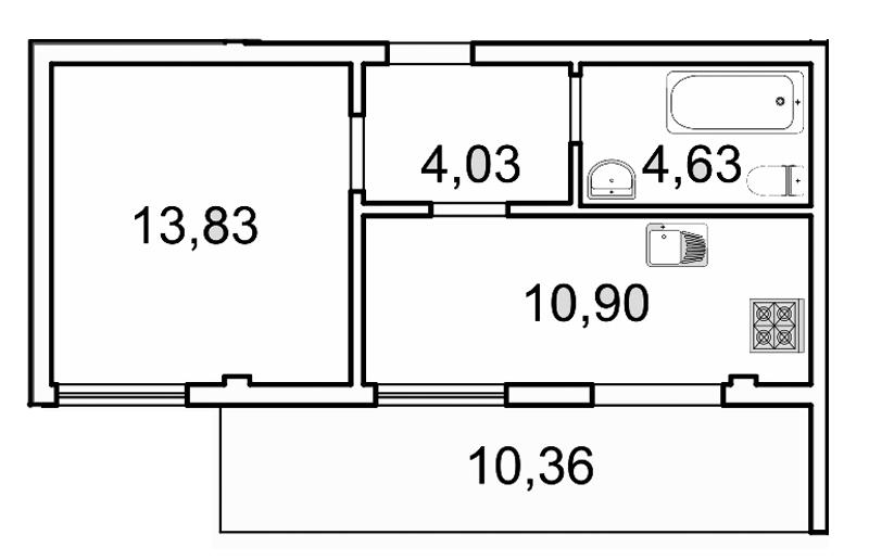 Планировка Однокомнатная квартира площадью 36.5 кв.м в ЖК «Лахта Парк»