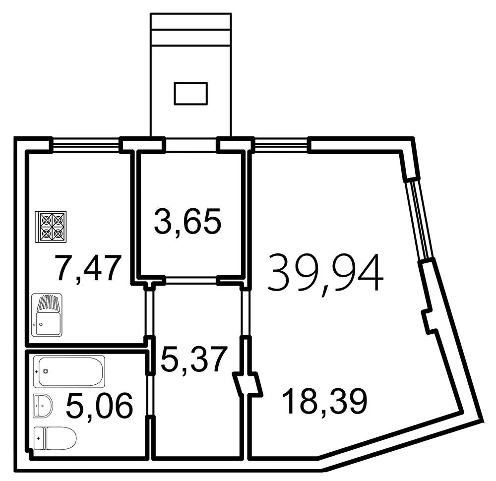 Планировка Однокомнатная квартира площадью 39.9 кв.м в ЖК «Лахта Парк»