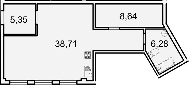 Планировка Студия площадью 59 кв.м в ЖК «Лахта Парк»