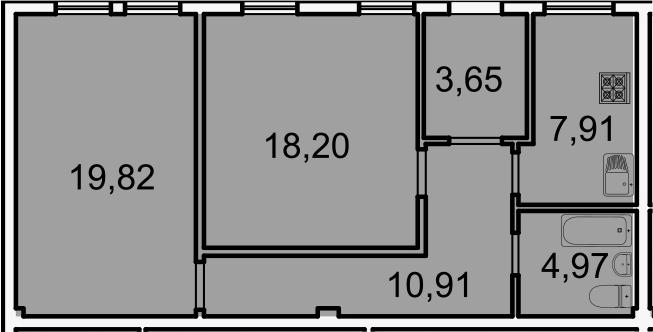 Планировка Двухкомнатная квартира площадью 65.5 кв.м в ЖК «Лахта Парк»