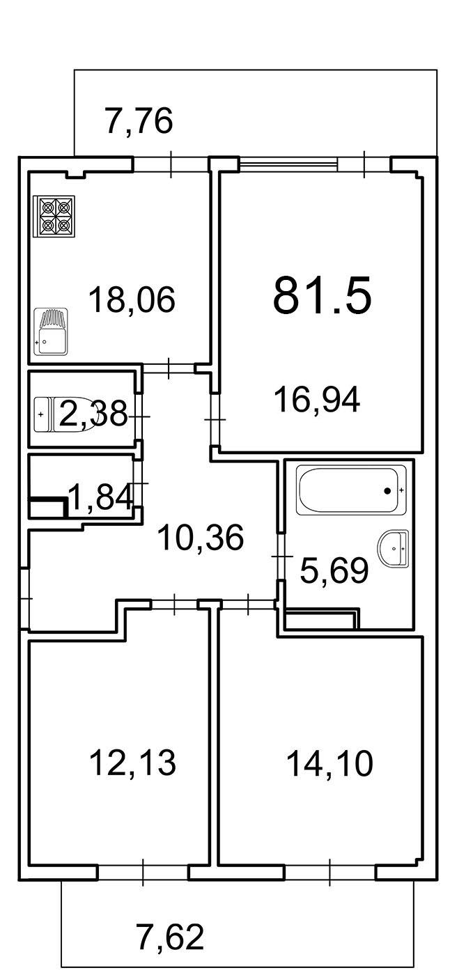 Планировка Трёхкомнатная квартира площадью 78.4 кв.м в ЖК «Лахта Парк»