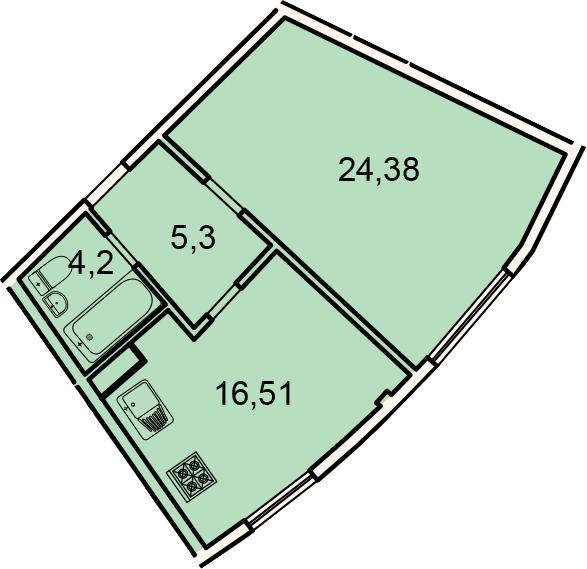 Планировка Однокомнатная квартира площадью 50.4 кв.м в ЖК «Лахта Парк»
