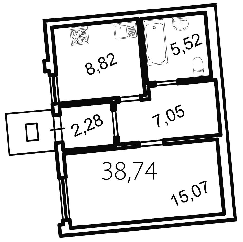 Планировка Однокомнатная квартира площадью 38.7 кв.м в ЖК «Лахта Парк»