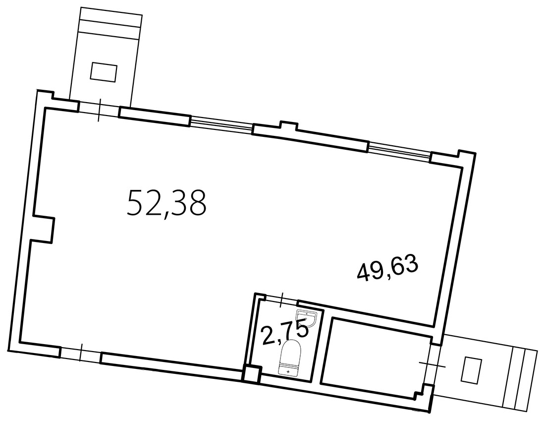 Планировка Коммерческое помещение площадью 52.4 кв.м в ЖК «Лахта Парк»