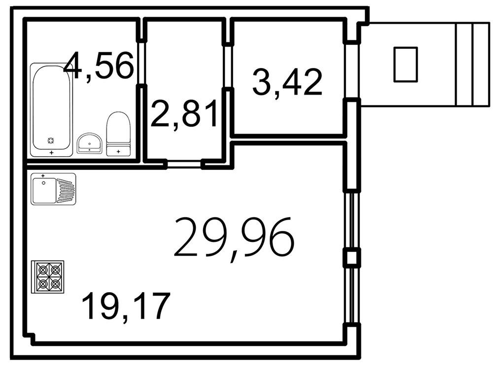 Планировка Студия площадью 30 кв.м в ЖК «Лахта Парк»