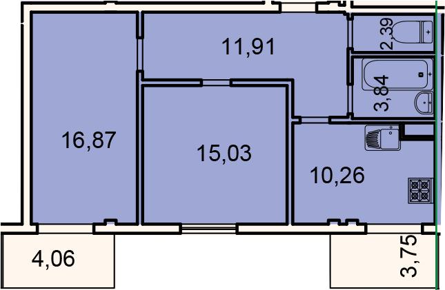 Планировка Двухкомнатная квартира площадью 68.06 кв.м в ЖК «Лахта Парк»