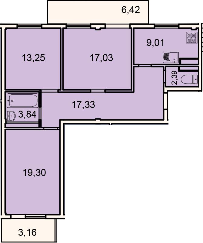 Планировка Трёхкомнатная квартира площадью 91.7 кв.м в ЖК «Лахта Парк»