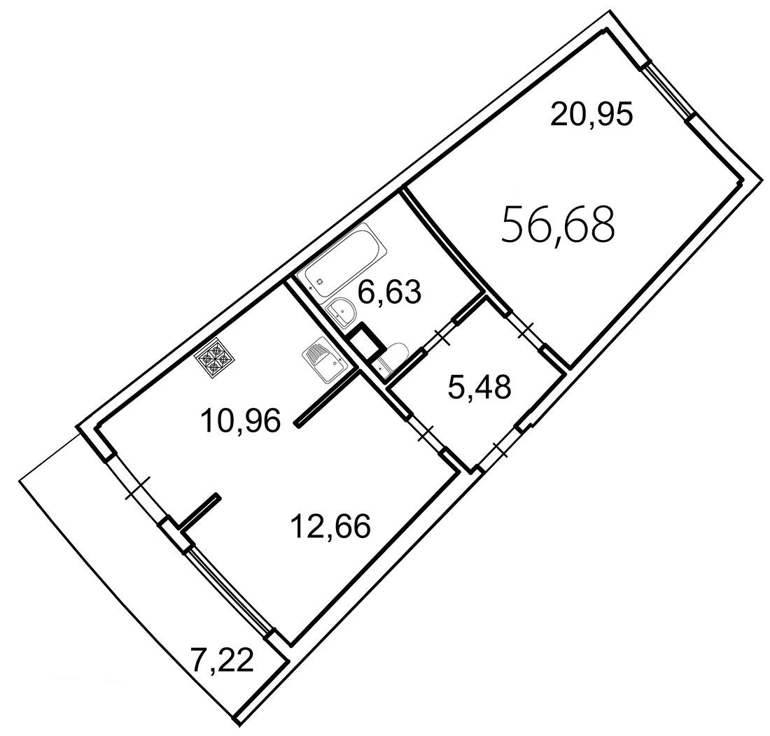 Планировка Двухкомнатная квартира площадью 58.8 кв.м в ЖК «Лахта Парк»