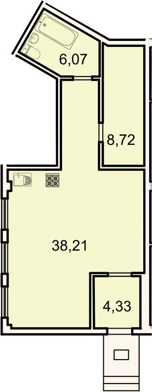 Планировка Студия площадью 57.3 кв.м в ЖК «Лахта Парк»