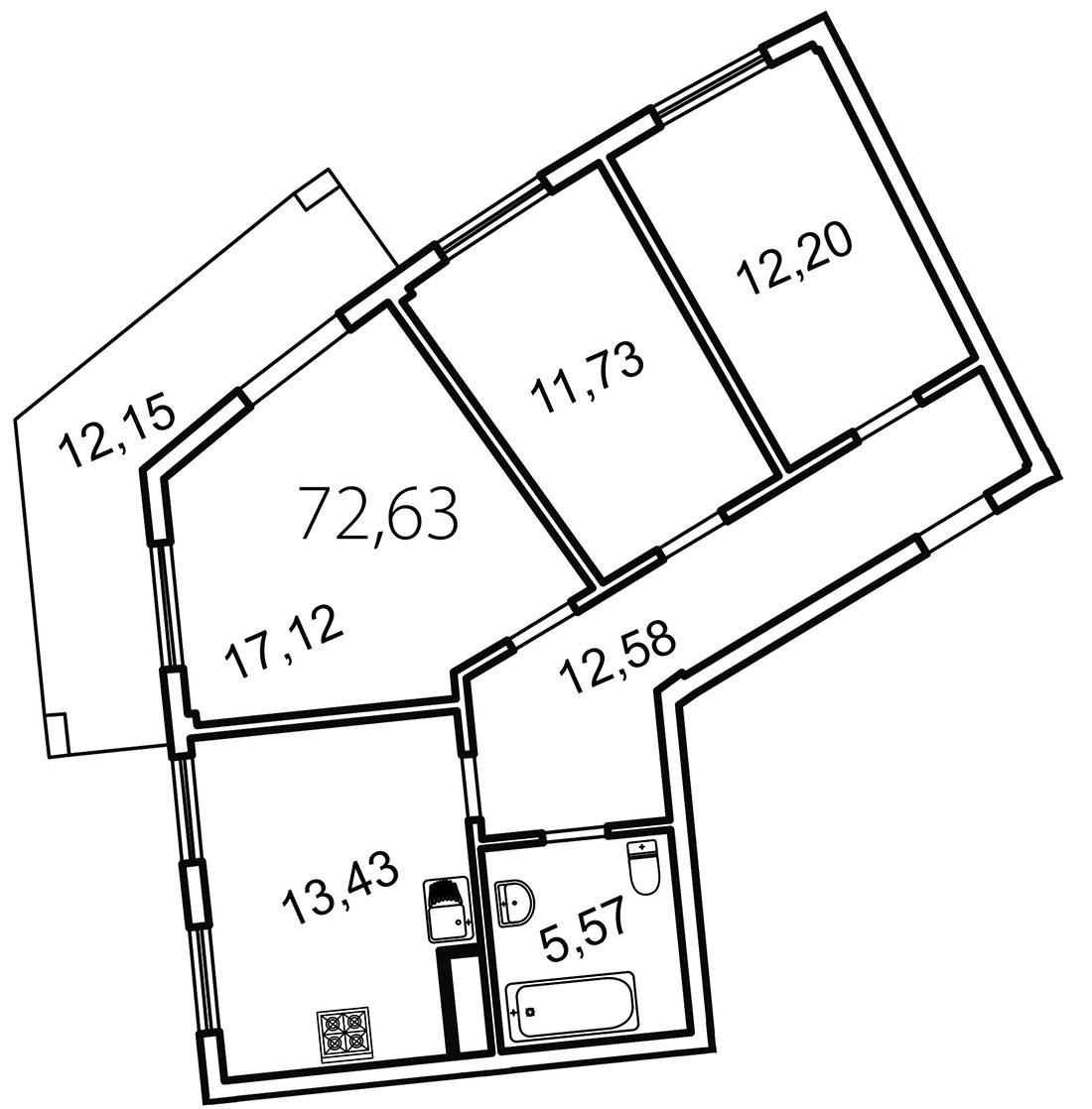 Планировка Трёхкомнатная квартира площадью 76.3 кв.м в ЖК «Лахта Парк»
