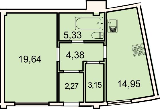 Планировка Однокомнатная квартира площадью 49.7 кв.м в ЖК «Лахта Парк»