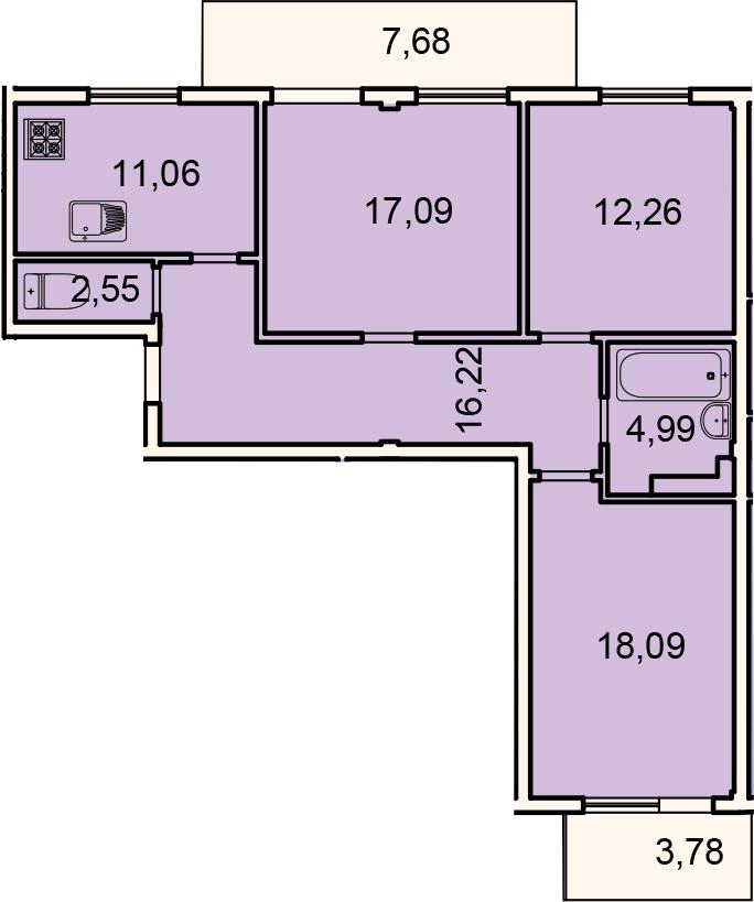Планировка Трёхкомнатная квартира площадью 93.74 кв.м в ЖК «Лахта Парк»