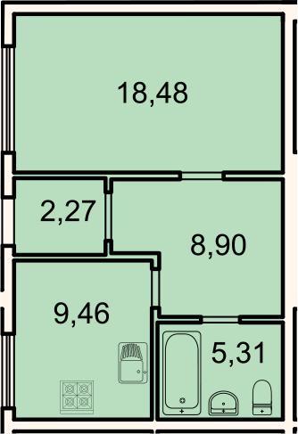 Планировка Однокомнатная квартира площадью 44.4 кв.м в ЖК «Лахта Парк»
