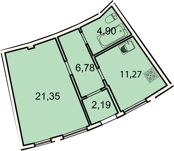 Планировка Однокомнатная квартира площадью 46.5 кв.м в ЖК «Лахта Парк»