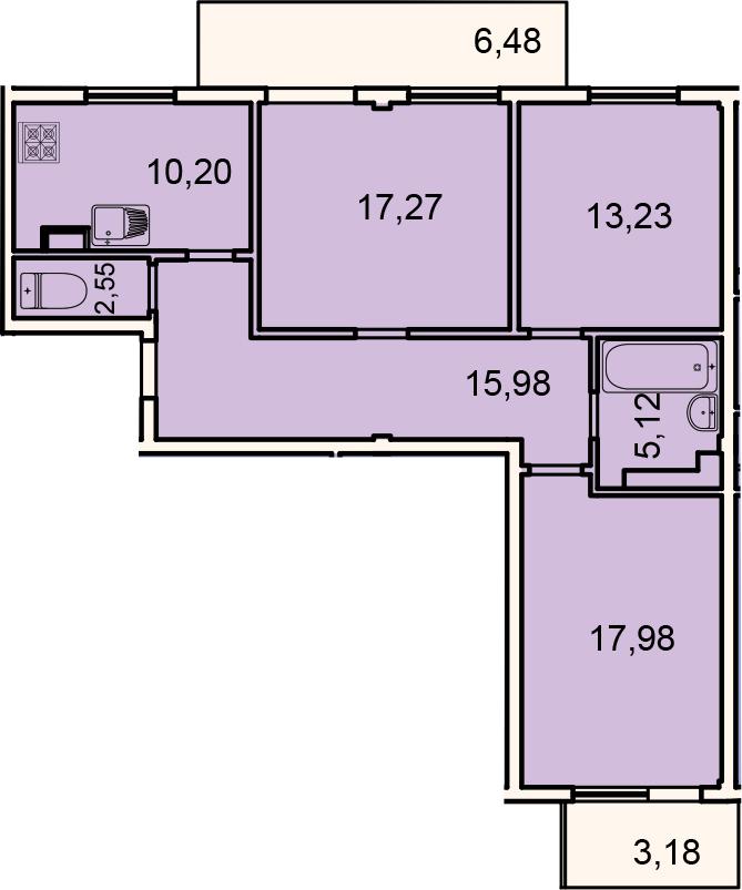 Планировка Трёхкомнатная квартира площадью 91.97 кв.м в ЖК «Лахта Парк»