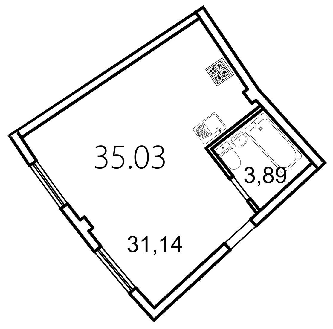 Планировка Студия площадью 35 кв.м в ЖК «Лахта Парк»