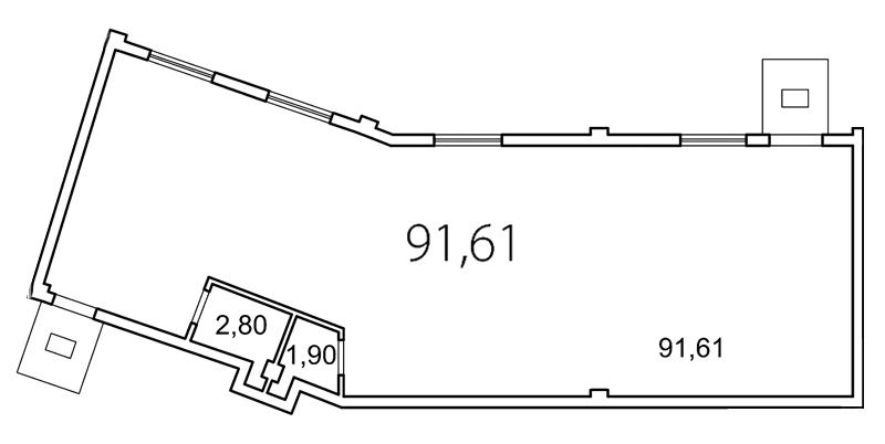Планировка Коммерческое помещение площадью 96.3 кв.м в ЖК «Лахта Парк»