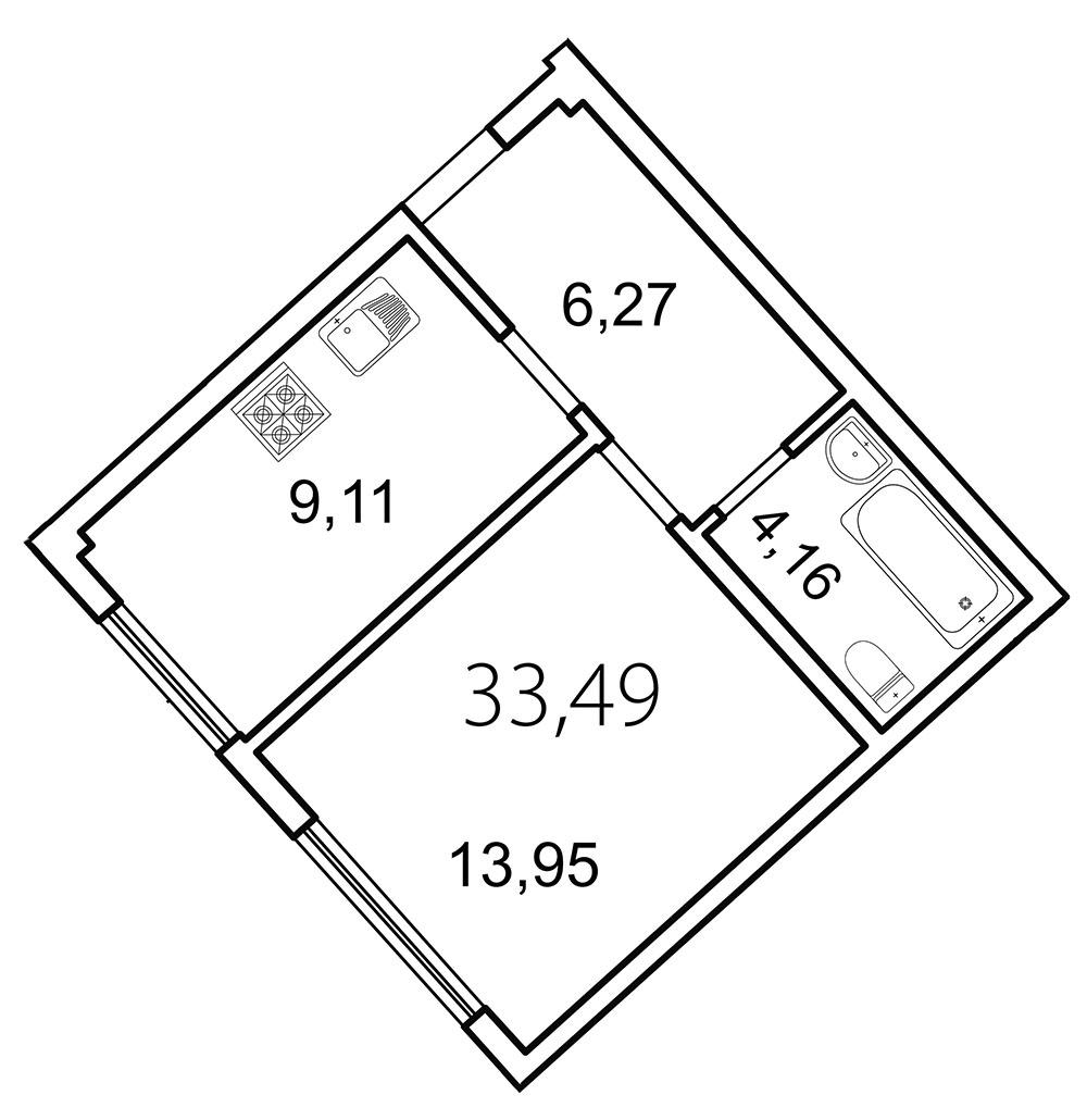 Планировка Однокомнатная квартира площадью 33.5 кв.м в ЖК «Лахта Парк»