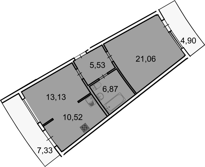 Планировка Двухкомнатная квартира площадью 74.36 кв.м в ЖК «Лахта Парк»