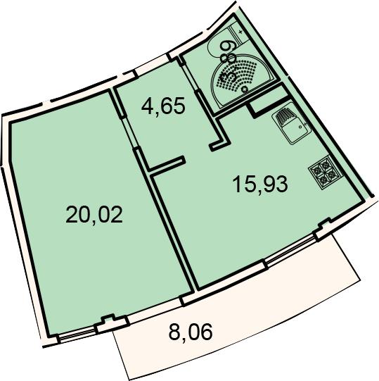 Планировка Однокомнатная квартира площадью 52.54 кв.м в ЖК «Лахта Парк»