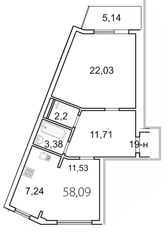 Планировка Двухкомнатная квартира площадью 59.6 кв.м в ЖК «Лахта Парк»