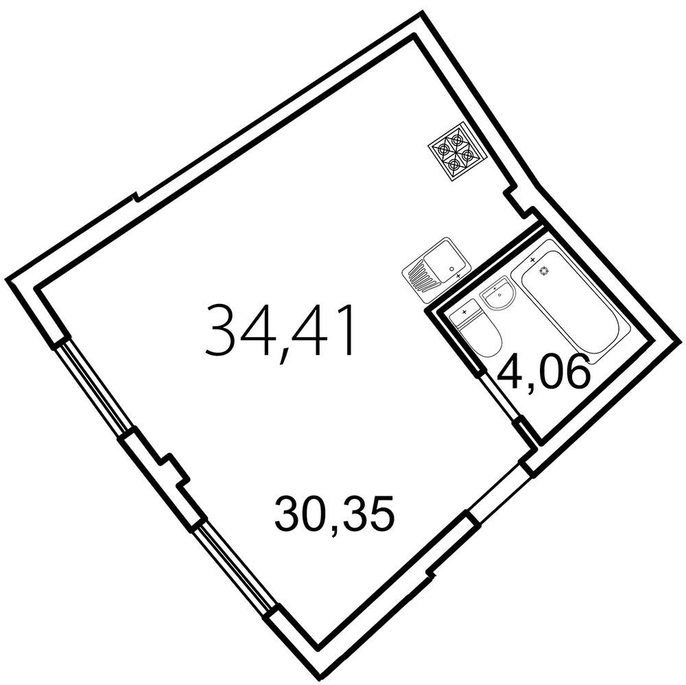 Планировка Студия площадью 34.4 кв.м в ЖК «Лахта Парк»