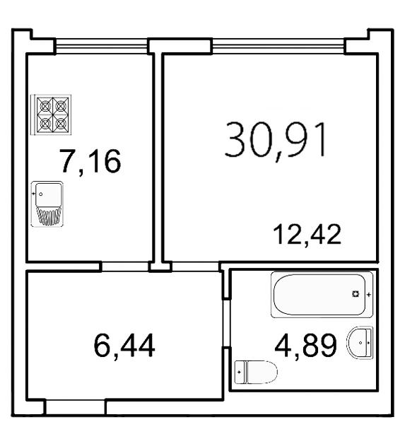Планировка Однокомнатная квартира площадью 30.9 кв.м в ЖК «Лахта Парк»