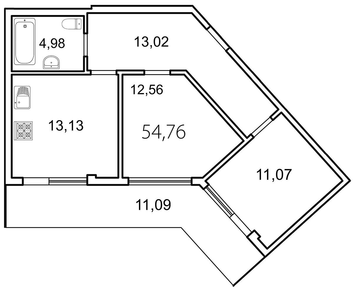 Планировка Двухкомнатная квартира площадью 58.3 кв.м в ЖК «Лахта Парк»
