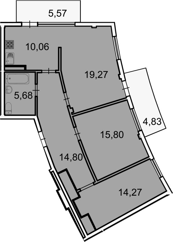 Планировка Трёхкомнатная квартира площадью 90.28 кв.м в ЖК «Лахта Парк»