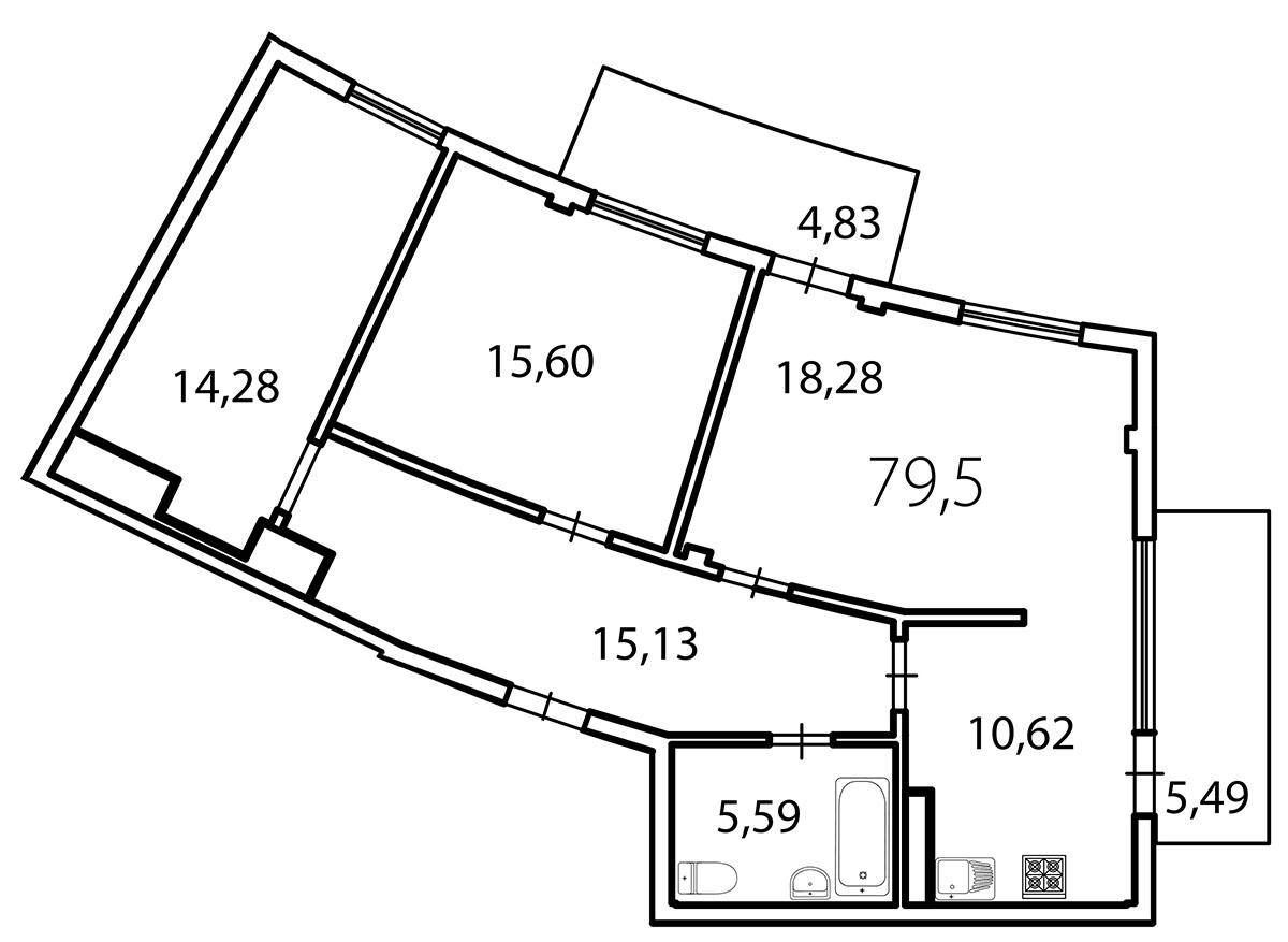 Планировка Трёхкомнатная квартира площадью 82.6 кв.м в ЖК «Лахта Парк»