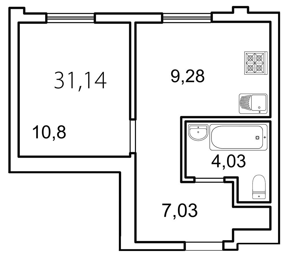 Планировка Однокомнатная квартира площадью 31.1 кв.м в ЖК «Лахта Парк»