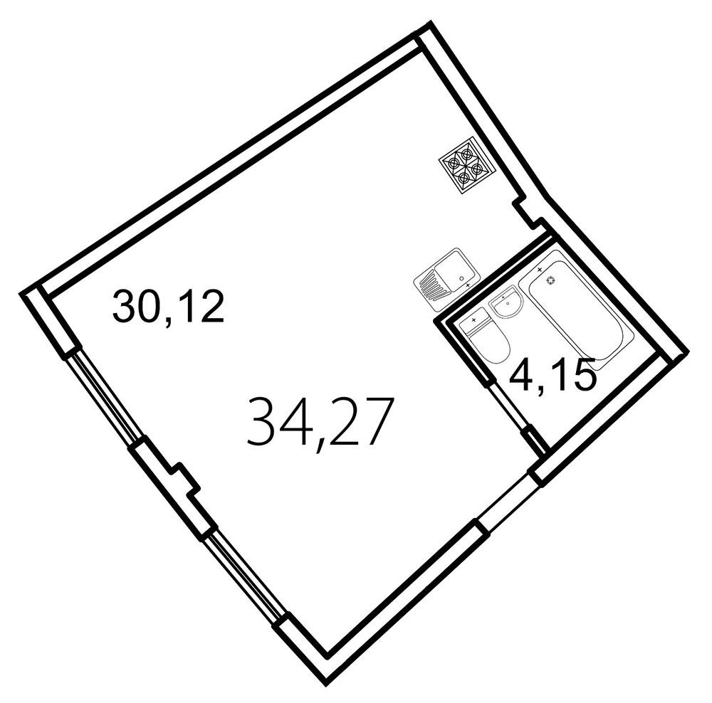 Планировка Студия площадью 34.3 кв.м в ЖК «Лахта Парк»