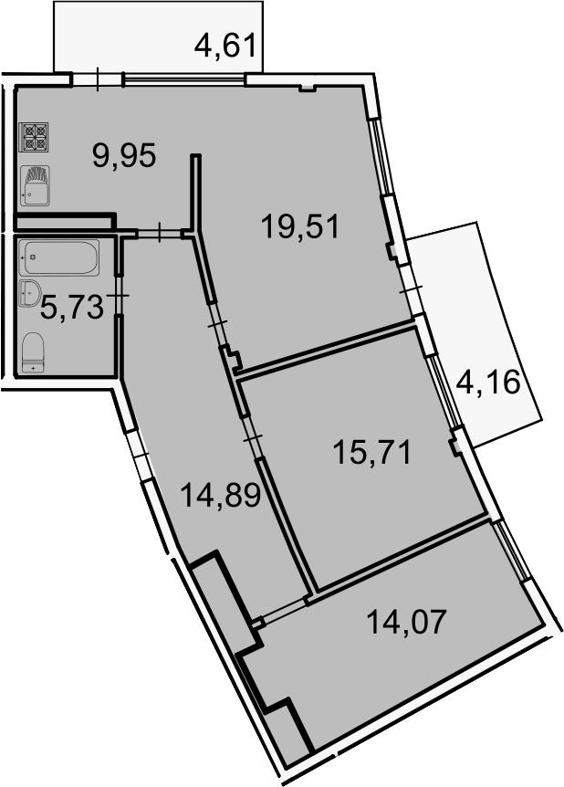 Планировка Трёхкомнатная квартира площадью 88.64 кв.м в ЖК «Лахта Парк»