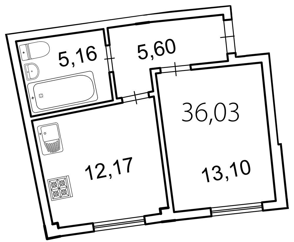 Планировка Однокомнатная квартира площадью 36 кв.м в ЖК «Лахта Парк»