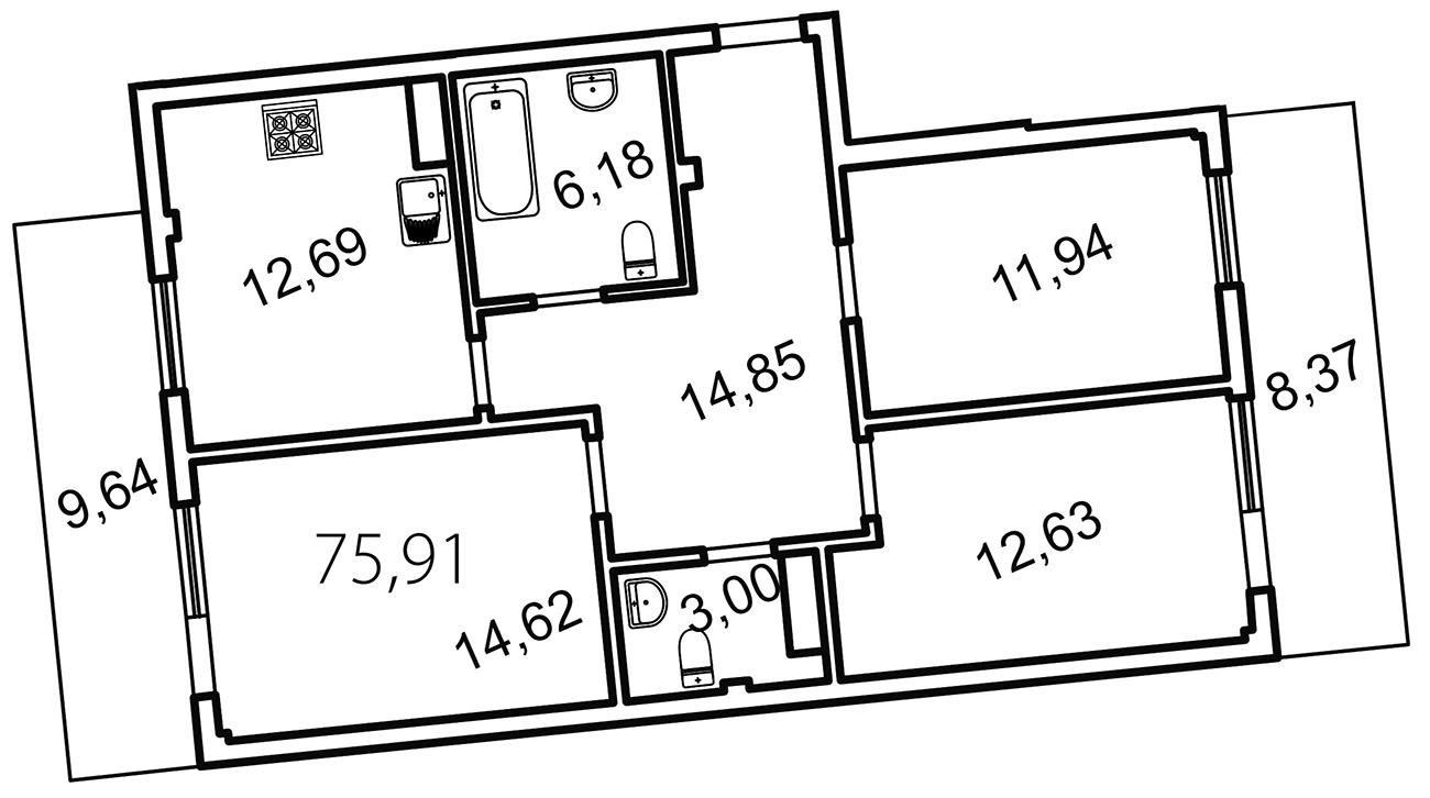 Планировка Трёхкомнатная квартира площадью 81.3 кв.м в ЖК «Лахта Парк»