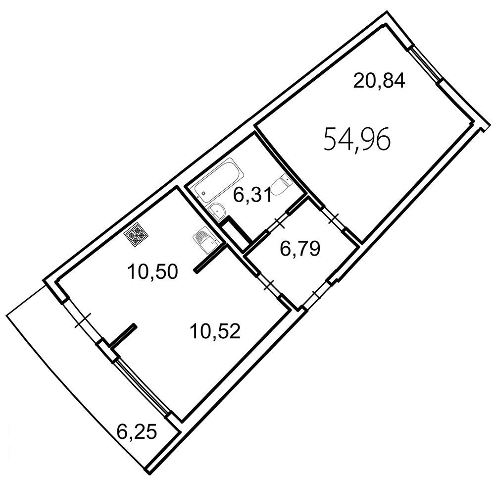 Планировка Двухкомнатная квартира площадью 56.8 кв.м в ЖК «Лахта Парк»